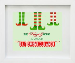 Personalised Under Elf Surveillence Christmas Print